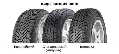 Зимние шины и их типы